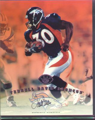 Terrell Davis certified autograph Denver Broncos 1997 Leaf 8x10 photo card