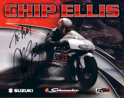 Chip Ellis (NHRA) autographed 8x10 photo card (to Alex)