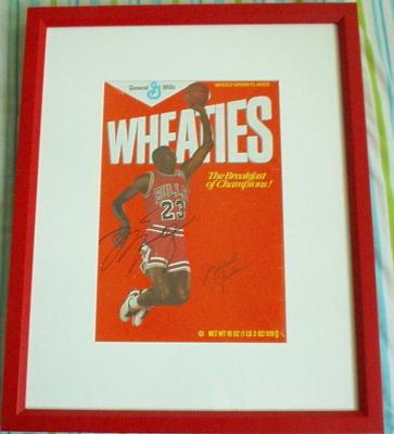 Michael Jordan autographed Wheaties box matted & framed