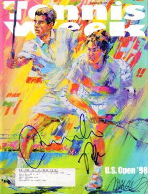 Martina Hingis & Pete Sampras autographed 1998 U.S. Open Tennis Week magazine