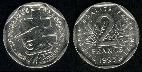 2 francs; Year: 1993; (km 1062); Jean Moulin