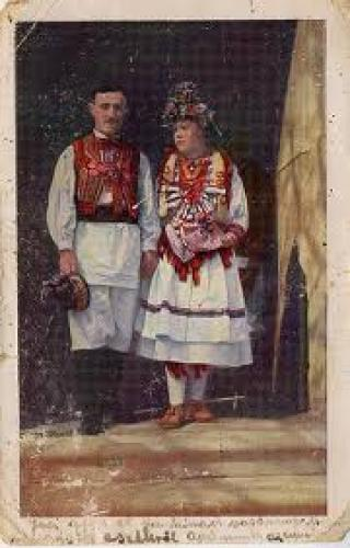 Postcard Croatia; Postcard featuring Croatian traditional costume