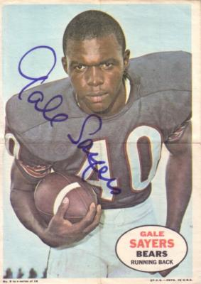 Gale Sayers autographed Chicago Bears 1968 Topps 5x7 mini poster