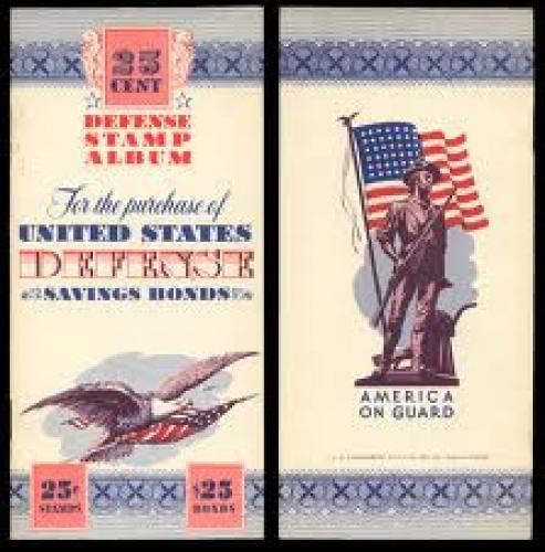 Stamps; USA,Defense Savings Bond Stamp Album, 10 cent, no date