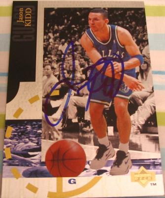 Jason Kidd autographed Dallas Mavericks 1995 Upper Deck jumbo card