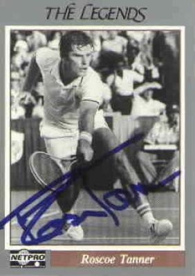 Roscoe Tanner autographed Netpro Legends tennis card