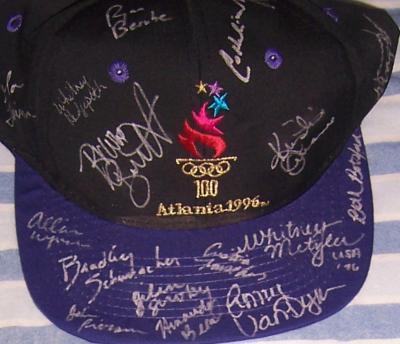 1996 USA Olympic Swim Team autographed cap (Amanda Beard Brooke Bennett Amy Van Dyken)