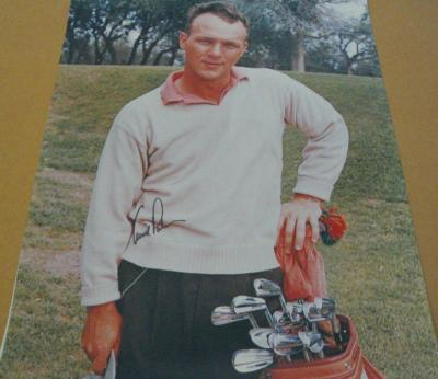 Arnold Palmer autographed 16x20 poster size vintage golf photo