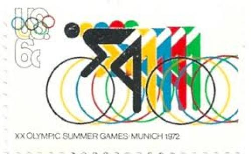 Stamps;  USA - Stamp 1972, XX Olympic Summer Games: Munich, Bicycle 6 c