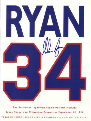Nolan Ryan autographed Texas Rangers 1996 jersey retirement program