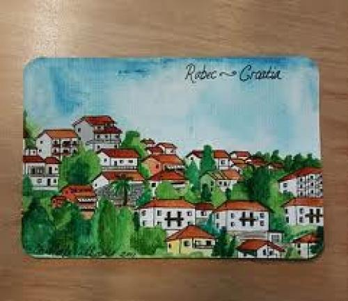 Croatia Postcard; Hand Painted