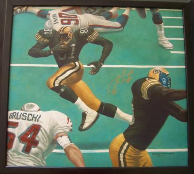 Desmond Howard autographed Packers Kadir Nelson painting inscribed SB XXXI MVP