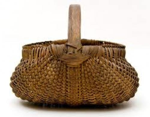 Decorative; Antique Buttocks Basket: American, Late 19th Century Basket