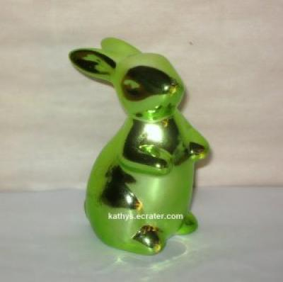 Germany Metallic Green Ceramic Bunny Rabbit Animal Figurine