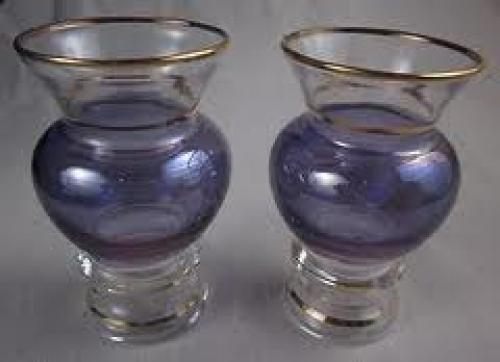 Antiques; Flashed Blue Purple Gold Trim Vases 1950's Mid Century Modern
