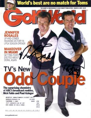 Paul Azinger & Nick Faldo autographed 2005 Golf World magazine