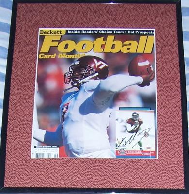 Michael Vick autographed Virginia Tech 2001 Beckett Football cover framed