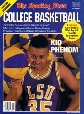 Chris Jackson autographed LSU 1989-90 Sporting News College Basketball Yearbook