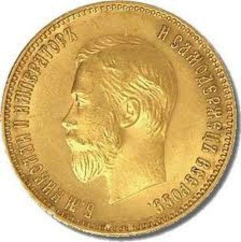 Coins; 1911 Russia 10 Rubles Gold Coin Obverse