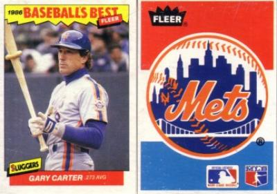 Gary Carter & New York Mets 1986 Fleer Sluggers vs Pitchers box bottom cards