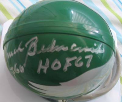 Chuck Bednarik autographed Philadelphia Eagles throwback mini helmet