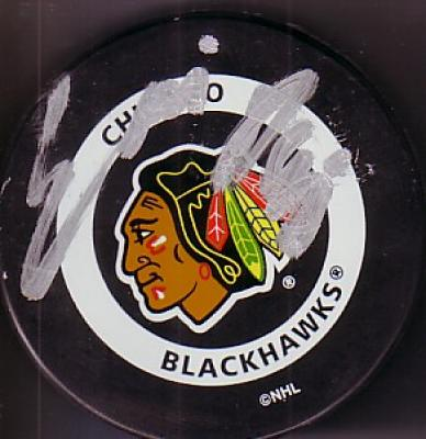Eric Daze autographed Chicago Blackhawks puck