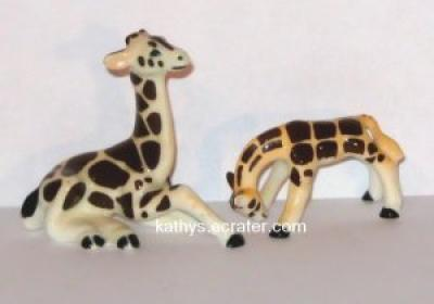 Miniature Bone China 2 Giraffe Animal Figurine