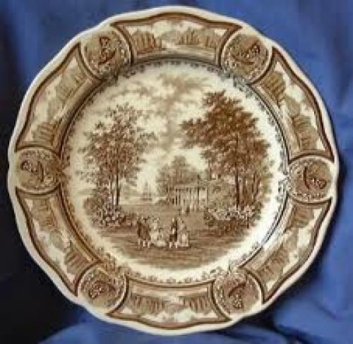 Decorative; Brown Toile Transferware Decorative Dishes