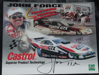 John Force autographed 1997 Castrol GTX 8x10 photo card inscribed 11X