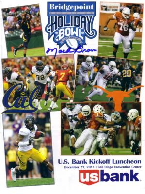 Mack Brown autographed Texas Longhorns 2011 Holiday Bowl lunch program
