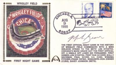 Mark Grace autographed Chicago Cubs Wrigley Field First Night Game cachet envelope
