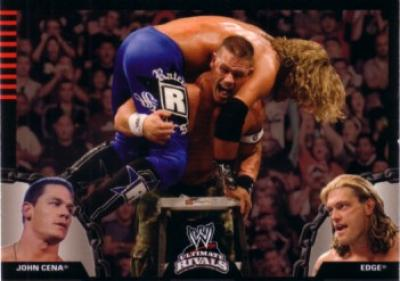 John Cena & Edge WWE Ultimate Rivals 2008 Topps promo card P1