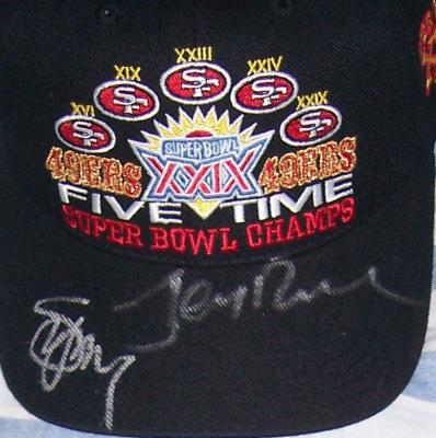 Jerry Rice & Steve Young autographed San Francisco 49ers 5 Time Super Bowl Champs cap