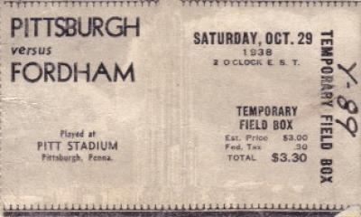 1938 Fordham vs Pittsburgh football ticket stub (7 Blocks of Granite)