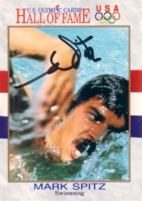 Mark Spitz (swimming) autographed U.S. Olympic Hall of Fame card