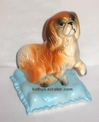 Vintage Japan Pekingese Dog on Pillow Animal Figurine