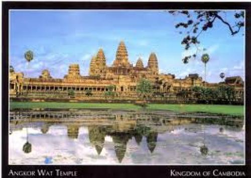 KINGDOM OF CAMBODIA POSTCARD. ANGKOR WAT TEMPLE. 