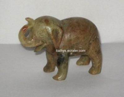 Carved Stone Elephant Brown Speckles Animal Figurine