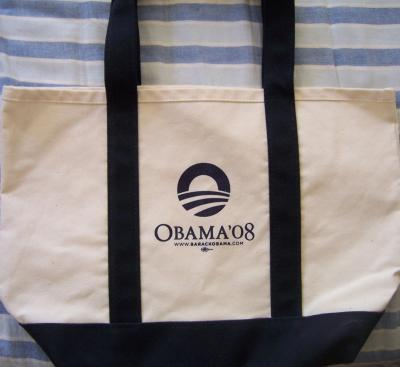 Barack Obama 2008 campaign canvas tote bag NEW