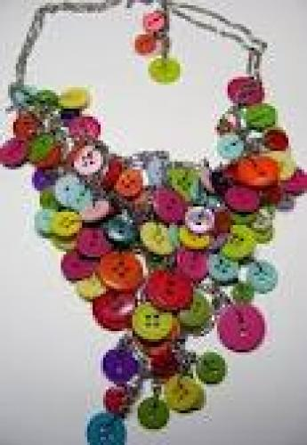 Crafts; Handmade necklace made of buttons