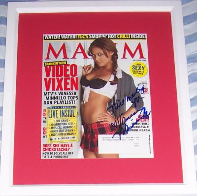Vanessa Minnillo autographed Maxim magazine cover matted &amp; framed