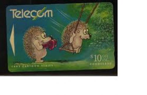 New Zealand, cartoon, used phone card