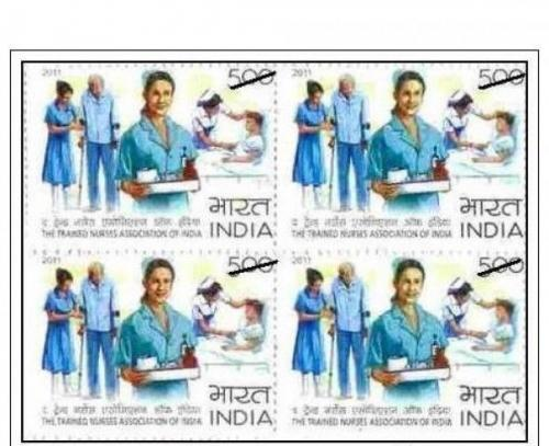 INDIA MNH BLOCK OF 4 STAMPS ON THE TRAINED NURSES ASSOCIATION OF INDIA  Medical Theme