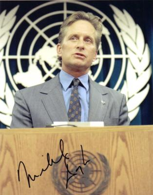 Michael Douglas autographed 8x10 United Nations photo