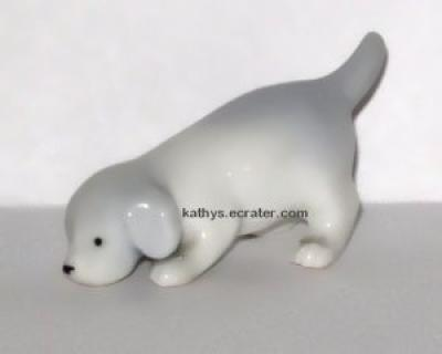 Miniature Germany Porcelain Blue White Dog Animal Figurine