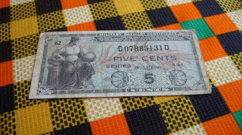 MILITARY PAYMENT CERTIFICATE SERIES 481 5 cents-USA/ 1951