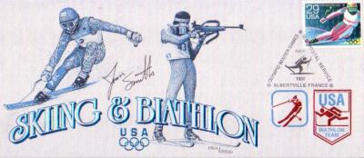Joan Smith autographed 1992 Winter Olympics biathlon cachet