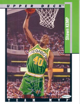 Shawn Kemp autographed Seattle Sonics 8 1/2 x 11 photo card UDA