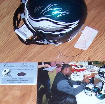 LeSean McCoy autographed Philadelphia Eagles mini helmet