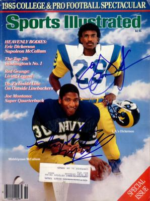 Eric Dickerson & Napoleon McCallum autographed 1985 Sports Illustrated